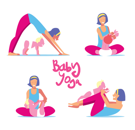 engaged: Baby yoga set. Mom with a child engaged in exercises of yoga for the baby health. Bitmap illustration.