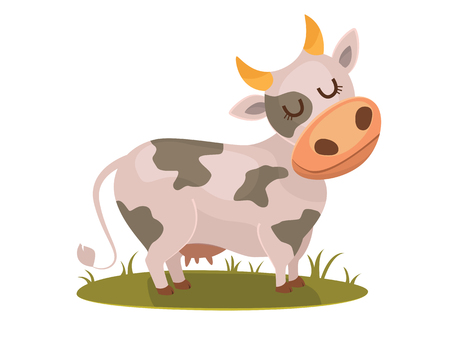 vertebrates: Isolated funny cow on white background, bitmap character.