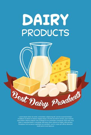bitmap: Dairy products poster template, bitmap illustration. Milk products