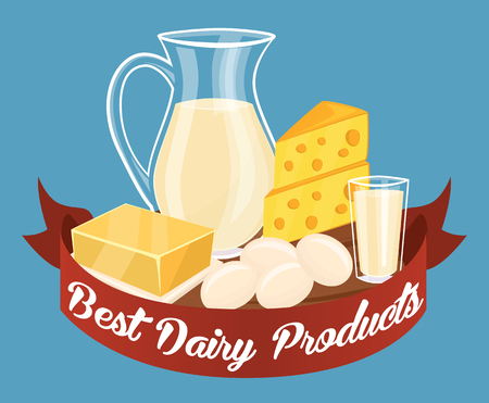 bitmap: Dairy products isolated set, bitmap illustration. Milk products composition.