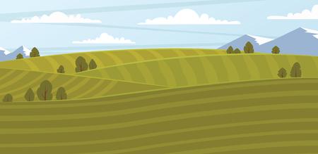 absract: Absract farm field, green landscape bitmap illustration.
