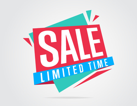 the offer: Sale banner bitmap isolated. Sale tag. Special offer. Limited tima sticker. Colorful illustration. Bitmap banner. Stock Photo