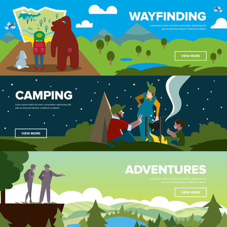 family hiking: Hiking and adventure banners. Weekend journey. Vector illustration. Activity life. Outdoor leisure. House on wheels.