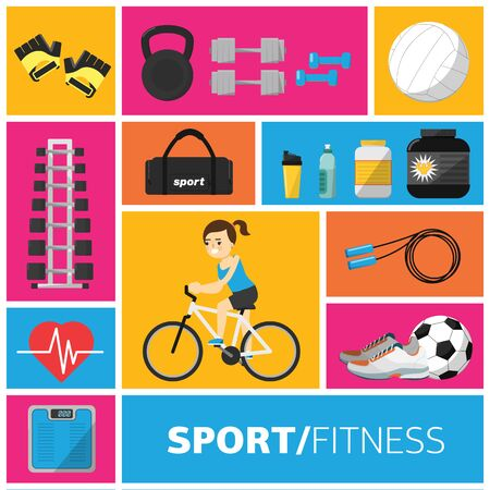 iron fun: Concept illustration of the gym and fitness sport equipment vector icon. Healthy lifestyle. Fitness symbol. Girl on bike. Illustration