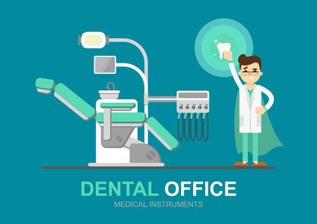 Zahnarztstuhl isoliert, Vektor-Illustration. Dentalgeräte. Moderne Flach Illustration.