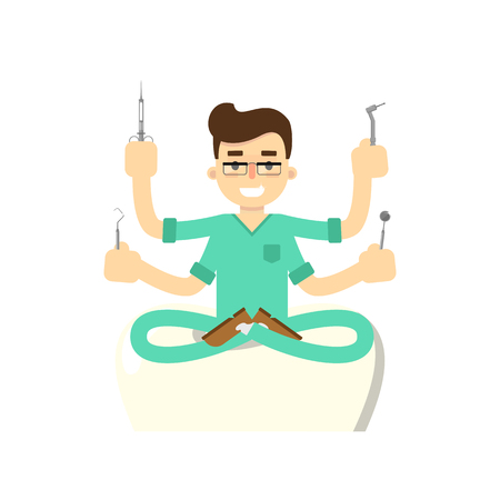 dental assistant: Dentist with tooth icon isolated, vector illustration