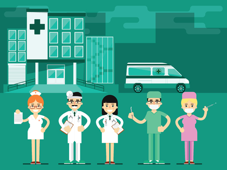 miscellaneous: Health workers in the hospital background. Miscellaneous medical characters. Doctor a nurse. Medical staff.