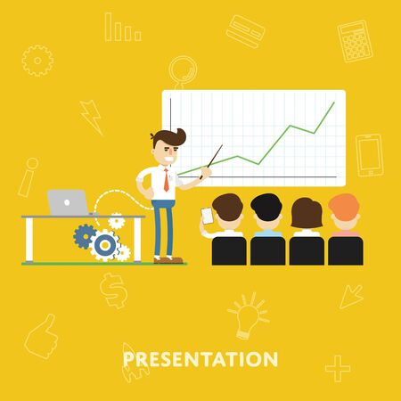 investors: Man explains of the results chart shows to investors and partners in business concept presentation flat abstract isolated vector illustration