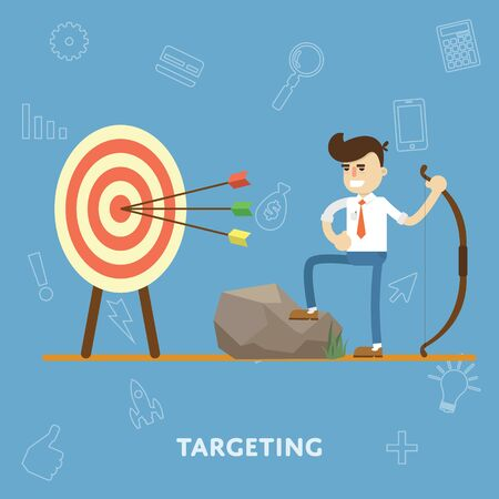 goal setting: Concept of goal setting and proper targeting to achieve business results flat abstract isolated vector illustration