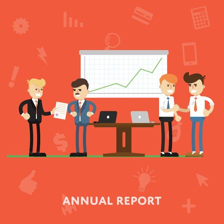 founders: Founders and managers negotiate a concept presentation of annual report flat abstract isolated vector illustration