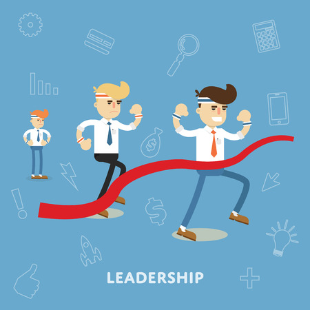 Business people compete in the race on the concept of leadership and winning over the other flat abstract isolated vector illustration