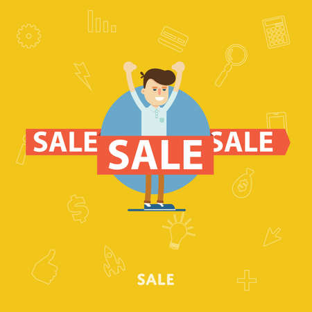 rejoices: Man rejoices sale flat abstract isolated vector illustration