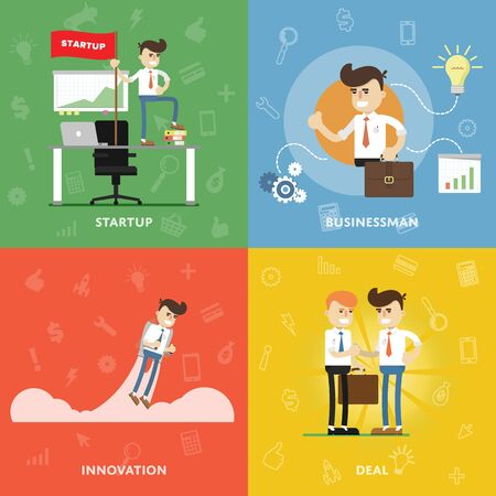 conclude: Start a new business with innovation and conclude business deals concept of entrepreneurship and startup flat abstract isolated vector banners