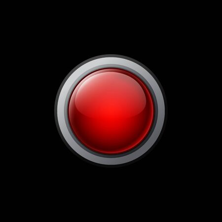 printed material: Big red button on a black background. Vector objects for website or printed material.