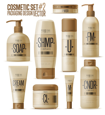 body wrap: Cosmetic brand template. Vector packaging. Oil, lotion, shampoo. Realistic bottle mock up set. Isolated pack on white background.