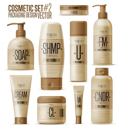 Cosmeticamerk template. Vector verpakking. Olie, lotion, shampoo. Realistische fles mock-up set. Geïsoleerd pak op een witte achtergrond. Stock Illustratie
