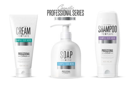 Body care, professional series. Cosmetic brand concept. Minimal design style. Tube cream, soap bottle, shampoo packing. Vector template. Realistic cosmetic packaging isolated on white background. Vettoriali
