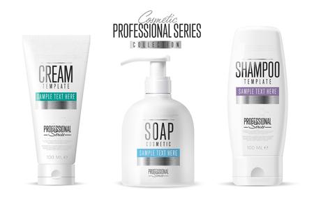Lichaamsverzorging, professionele serie. Cosmeticamerk concept. Minimalistisch design stijl. Tube crème, zeep fles, shampoo verpakking. Vector sjabloon. Realistische cosmetische verpakkingen op een witte achtergrond.