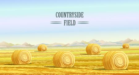 한 지방. 농촌 지역. 건초 더미가있는 들판. 국가 풍경. 초원 배경입니다. 건초 bales. 농사 생활. 만화 스타일의 벡터 일러스트 레이 션. 일러스트