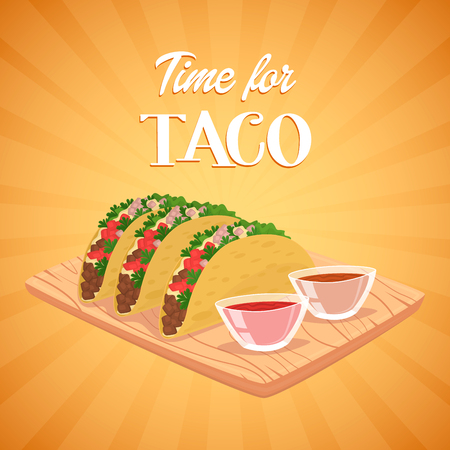 wrap vector: Tacos. Mexican food concept. Spicy meal. Tortilla, lettuce, salsa and beef in wrap. Vector illustration. Mexican fastfood.