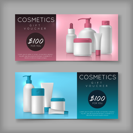 Cosmetic brand template on sale voucher. Vector packaging. Oil, lotion, shampoo on discount price. Advertisement flyer. Vettoriali