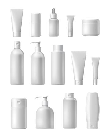 Cosmeticamerk template. Vector verpakking. Olie, lotion, shampoo. Realistische fles mock-up set. Geïsoleerd pak op een witte achtergrond.