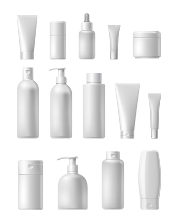 plantilla de la marca de cosméticos. embalaje de vector. Aceite, loción, champú. realista botella maqueta conjunto. el paquete aislado en el fondo blanco.