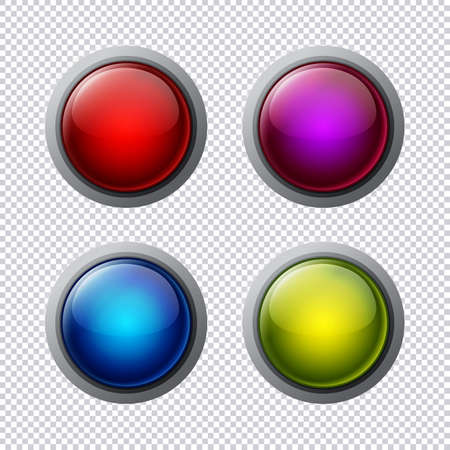 printed material: Set of multi-colored buttons with a transparent background. Vector objects for website or printed material. Illustration