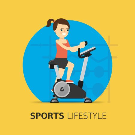 stationary bike: Illustration girl engaged on a stationary bike. Healthy life concept. Sport lifestyle. Fitness symbol. Vector icon. Illustration