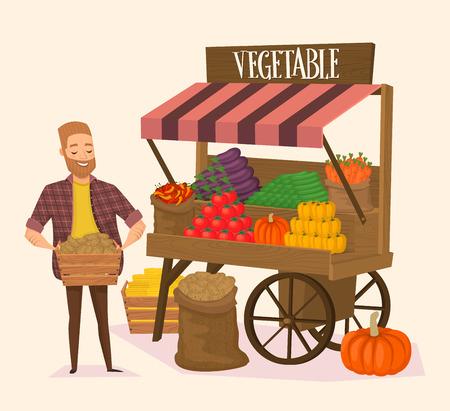 Locale negoziante contadino. Venditore verdure fresche. concetto di Farmers Market. Illustrazione vettoriale. Archivio Fotografico - 55815489