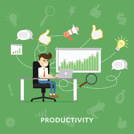 Businessman working at his laptop in office productivity concept flat abstract isolated vector illustration