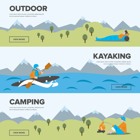 active life: Outdoor adventure. Kayaking and camping. Active life. Extreme tourism.