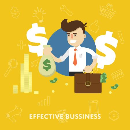 effective: Effective business management concept of profit growth and revenue flat abstract isolated vector illustration
