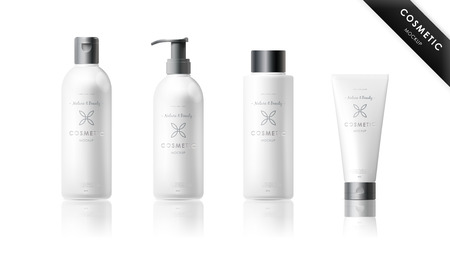 Realistic bottle mock up set. Isolated pack on white background. Cosmetic brand template. Vector packaging. Oil, lotion, shampoo. Illustration