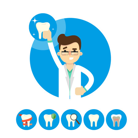 dental hygienist: Dentist with tooth icon isolated, vector illustration