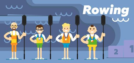 team effort: Rowing team costs about the podium with gold, silver and bronze medals with oars in their hands flat vector illustration.