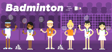 bronze medal: Badminton team on awarding some pedestal with a gold, a silver and a bronze medal with rackets in hand flat vector illustration. Illustration