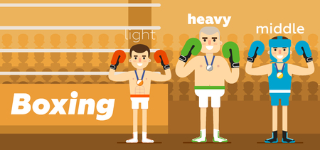 ringside: Boxing Team at awarding at ringside with a gold, a silver and a bronze medal in gloves flat vector illustration.