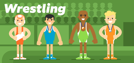 Wrestling team in the awarding of a gold, a silver and a bronze medal flat vector illustration.