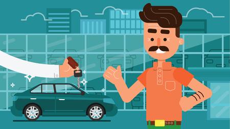 Buying, selling or renting a car. Car hire. Car leasing. Test drive. Vektoros illusztráció