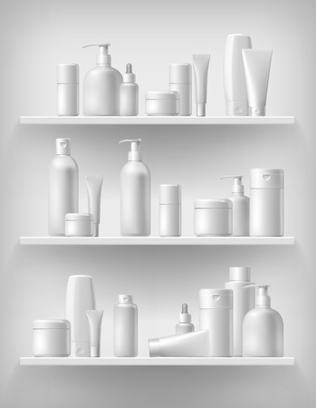Cosmetic brand template. Vector packaging. Oil, lotion, shampoo. Realistic bottle mock up set. Isolated pack on the shelf.