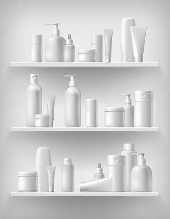 Szablon marki kosmetycznej. Opakowanie wektorowe. Olej, balsam, szampon. Realistyczne butelki makiety zestaw. Pojedyncze opakowanie na półce.