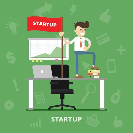 own: Startup business project process with entrepreneur flat abstract isolated vector illustration Illustration