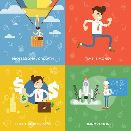 business innovation: Professional growth, time is money, business efficiency, innovation banners set with the concept of personal success and growth flat abstract isolated vector banners Illustration