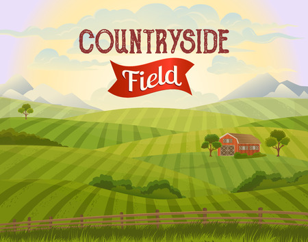 grass area: Meadow landscape. Green grass. Countryside. Rural area. Fields. Village background. Farming life. Vector illustration in cartoon style.