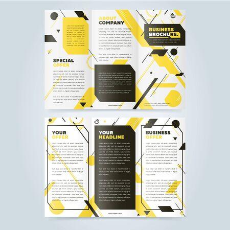 booklet design: Trifold business brochure design template. Vector flyer, leaflet or booklet design. Tri fold.