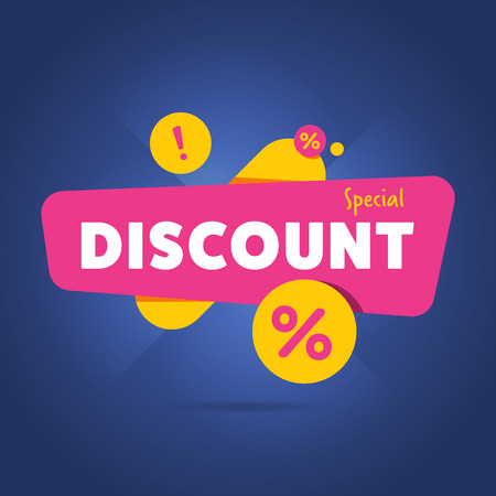 discount banner: Special discount advertisement promo banner flat abstract isolated illustration