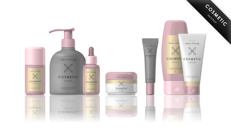 Kosmetyki marki szablonu. wektorowe opakowania. Realistyczne opakowania kosmetyczne wyizolowanych na białym tle.