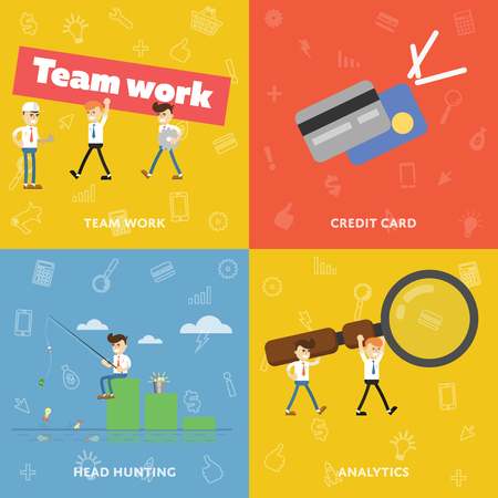 new ideas: Teamwork. Icon credit card. Search for new ideas. Sales Analytics. Vector set of banners for business theme.