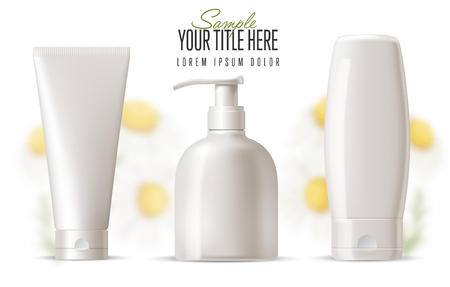 body wrap: Cosmetic brand template.  Vector packaging. Body care products with a camomile on a background. Oil, lotion or soap, shampoo, cream. Realistic bottle mock up set. Isolated pack on white background.